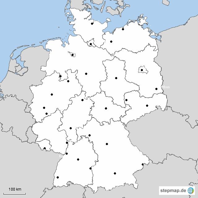 stepmap die bundesl nder der bundesrepublik deutschland landkarte f r deutschland. Black Bedroom Furniture Sets. Home Design Ideas