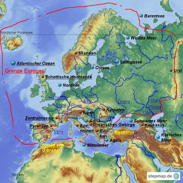 Grenze asien europa. Grenzen zwischen Kontinenten; Europa