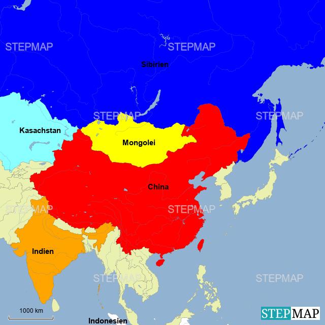 Asien Länder Karte.Stepmap Die Größten Länder Asiens Landkarte Für Asien