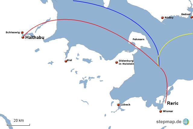 Haithabu Karte.Stepmap Die Handelsplatze Reric Und Haithabu Landkarte
