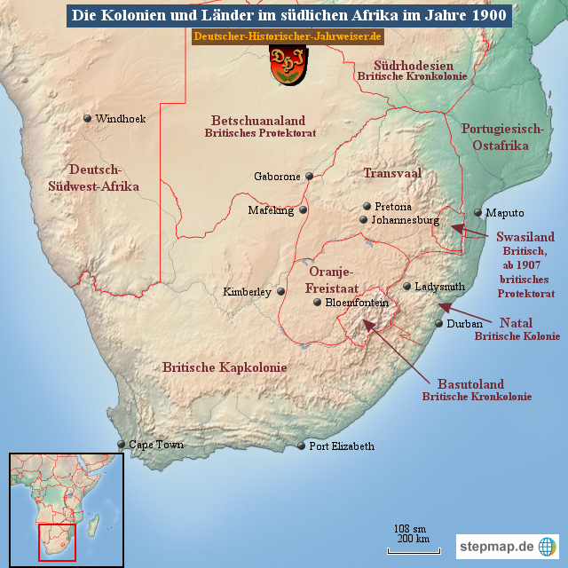 Karte Afrika Kolonien.Stepmap Die Kolonien Und Lander Im Sudlichen Afrika Im