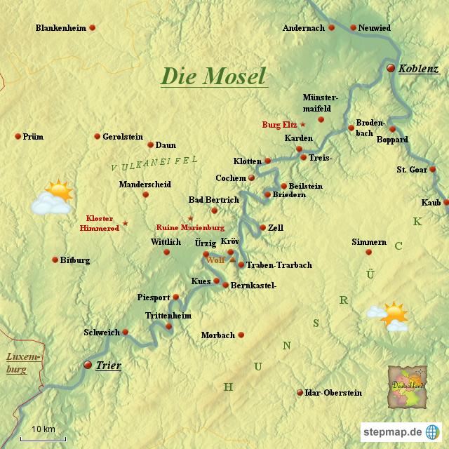Stepmap Die Mosel Landkarte Fur Deutschland