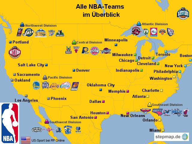 StepMap - Die NBA-Teams in der Übersicht - Landkarte für USA