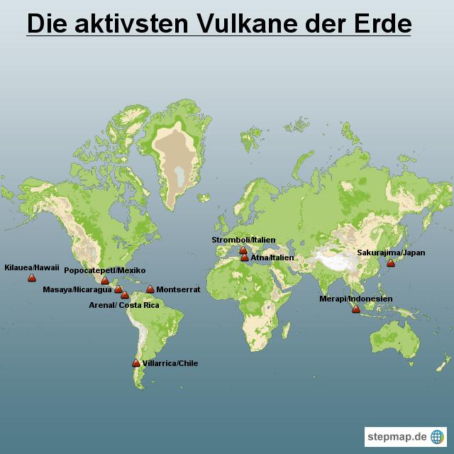 Vulkane Der Erde Karte.Stepmap Die Aktivsten Vulkane Der Erde Landkarte Für Welt