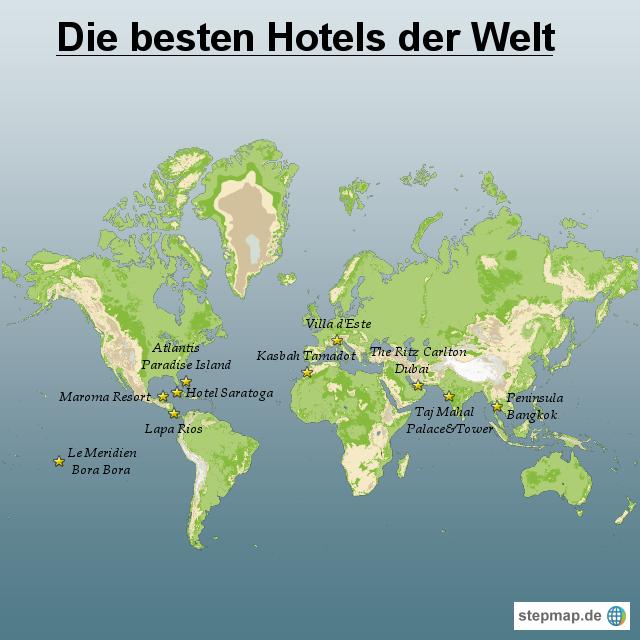 stepmap die besten hotels der welt landkarte f r welt. Black Bedroom Furniture Sets. Home Design Ideas
