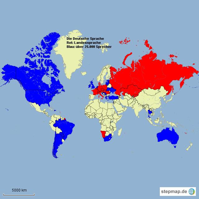 Stepmap Die Deutsche Sprache Landkarte Für Welt