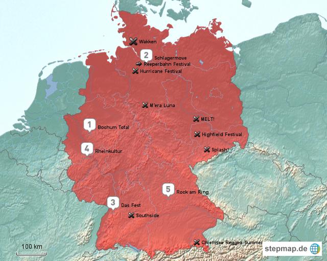festival karte deutschland StepMap   Die größten Festival in Deutschland   Landkarte für