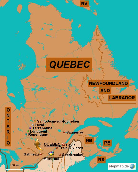 Quebec Karte.Stepmap Die Größten Städte In Quebec Landkarte Für Kanada