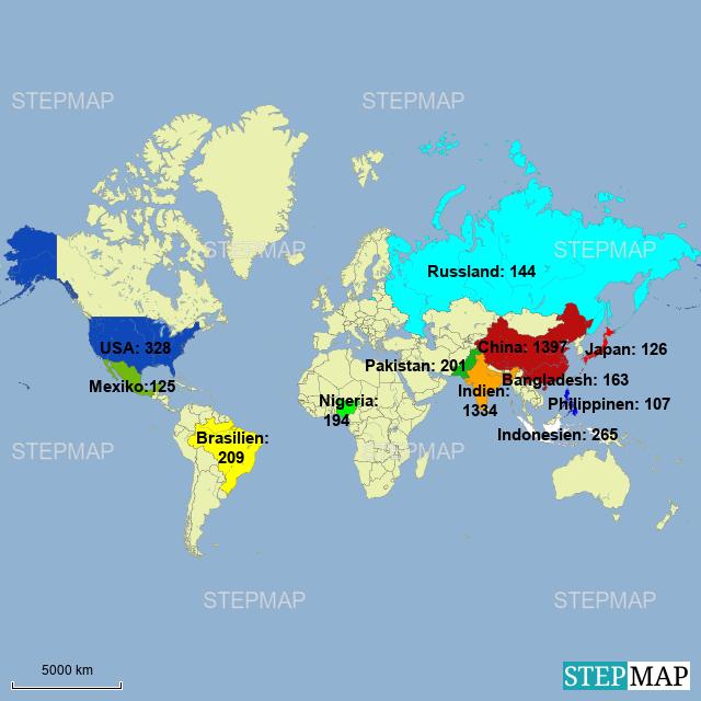 Länder der welt anzahl