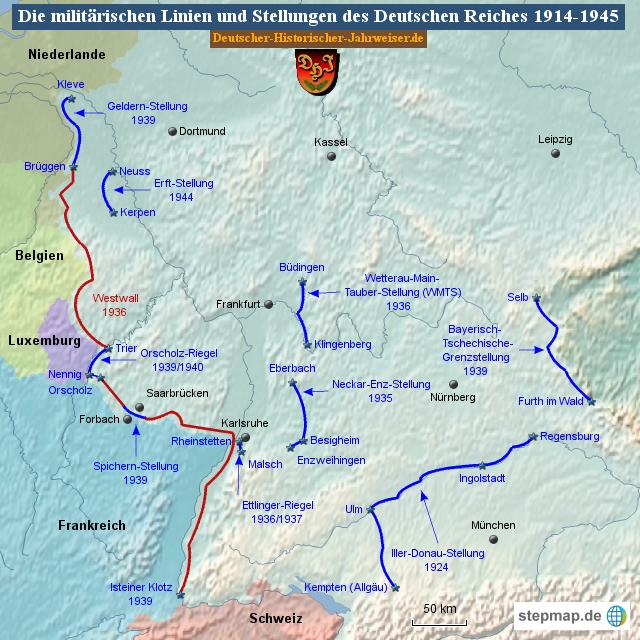 Karte Deutsches Reich 1914.Stepmap Die Militarischen Linien Und Stellungen Des