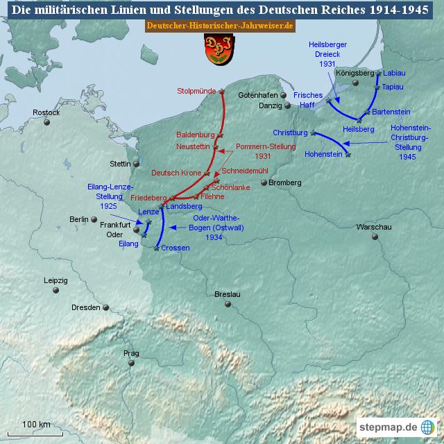 Pommern Karte Vor 1945.Stepmap Die Militärischen Linien Und Stellungen Des Deutschen