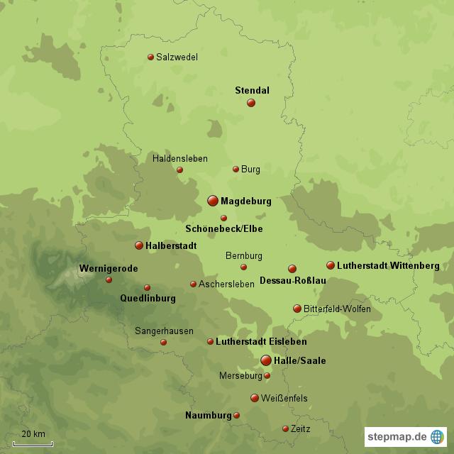Stepmap Die Wichtigsten Stadte Sachsen Anhalts Landkarte Fur