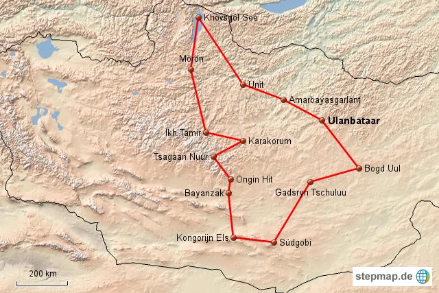 wüste gobi karte StepMap   Dien Mongolei zwischen Taiga Gebirge und Wüste Gobi 22  wüste gobi karte