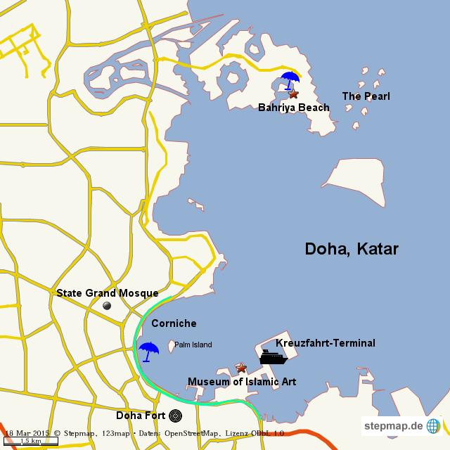 Doha Karte Welt.Stepmap Doha Katar Landkarte Fur Welt