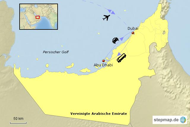 StepMap - Dubai und Abu Dhabi - Landkarte für Vereinigte Arabische ...