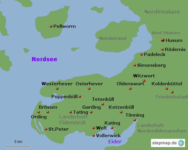 Husum Karte.Stepmap Eiderstedt Und Husum Landkarte Fur Deutschland