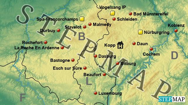 Karte Eifel.Stepmap Eifel Ardennen 2017 Landkarte Für Deutschland