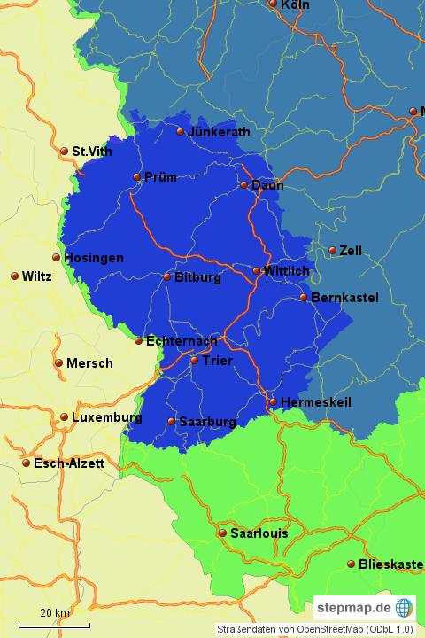 Karte Eifel.Stepmap Eifel Lux Landkarte Für Deutschland