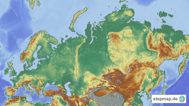 StepMap - Einzeichnen Grenze Europa Asien - Landkarte für
