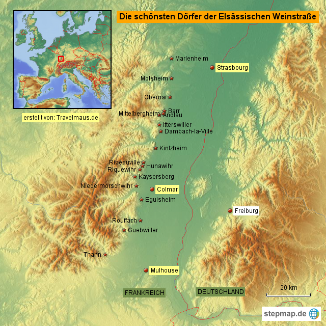 Elsass Karte Frankreich.Stepmap Elsass Dörfer Frankreich 2015 Landkarte Für Frankreich