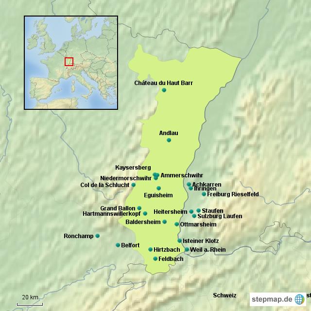Elsass Karte Frankreich.Stepmap Elsass Und Vogesen Landkarte Für Frankreich