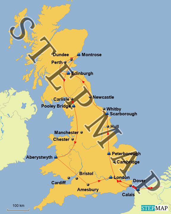 StepMap - England 1984 08 - Landkarte für Großbritannien