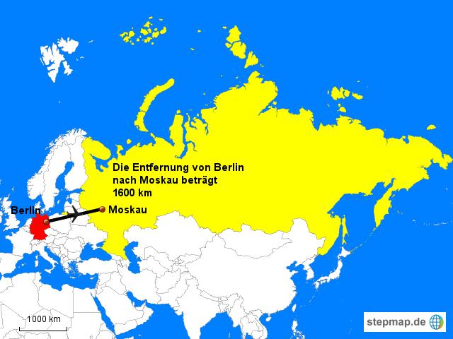 StepMap - Entfernung von Berlin nach Moscow - Landkarte für Russland