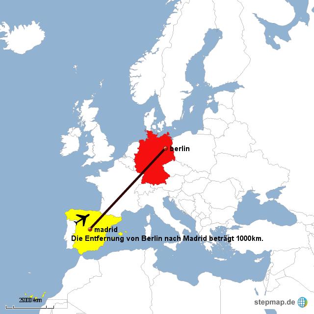 Berlin Hamburg Entfernung : stepmap entfernung von madrid nach berlin landkarte ~ Watch28wear.com Haus und Dekorationen