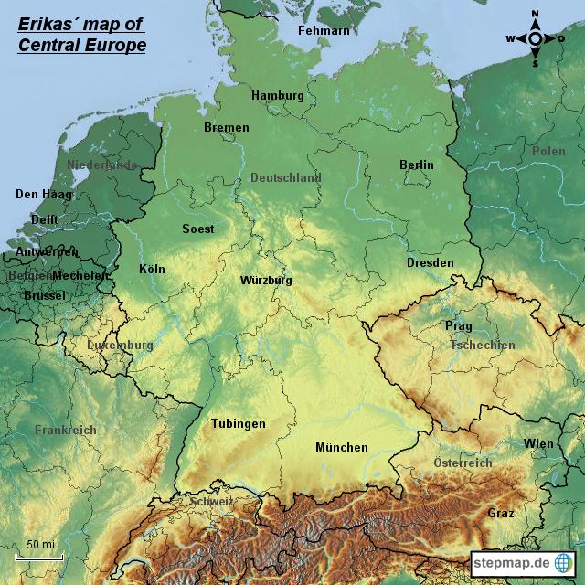 StepMap - Erikas map of Central Europe 1 - Landkarte für ...