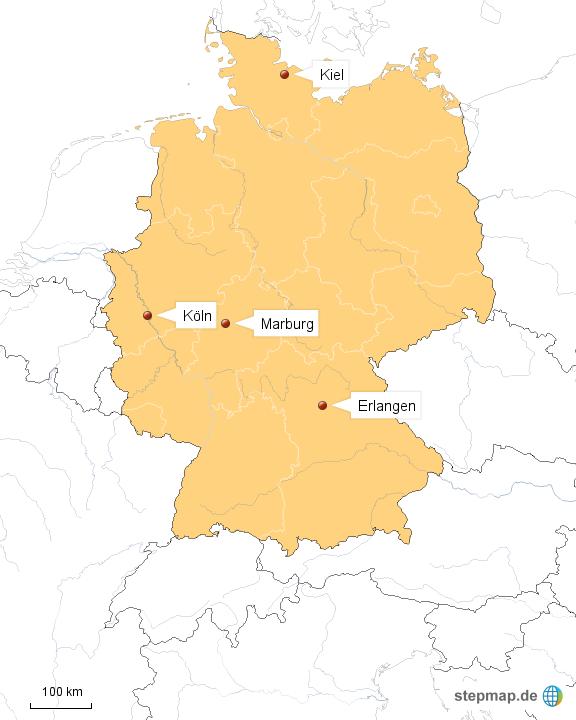 Erlangen Karte Deutschland.Stepmap Erlangen Kiel Koln Marburg Landkarte Fur Deutschland
