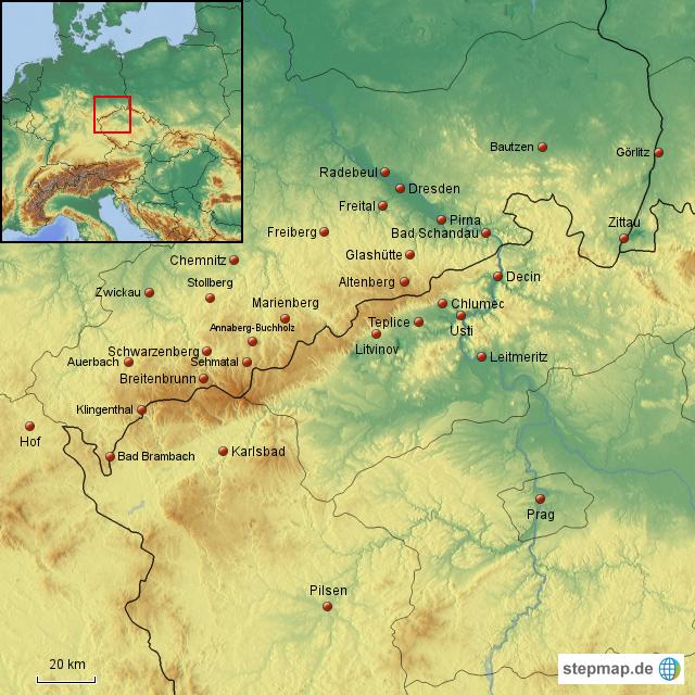 karte erzgebirge StepMap   Erzgebirge 1   Landkarte für Deutschland