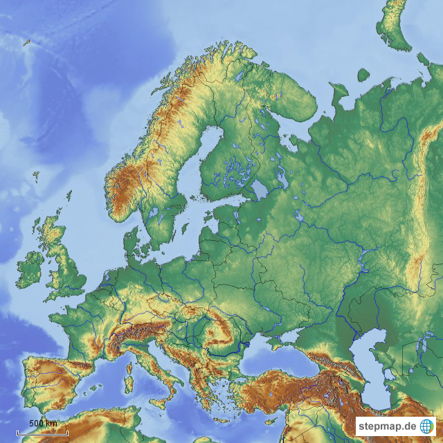 stepmap europa atlantikk ste bis ural landkarte f r. Black Bedroom Furniture Sets. Home Design Ideas