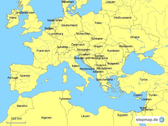 landkarte nordafrika StepMap   Europa/Nordafrika, Länder   Landkarte für Deutschland landkarte nordafrika