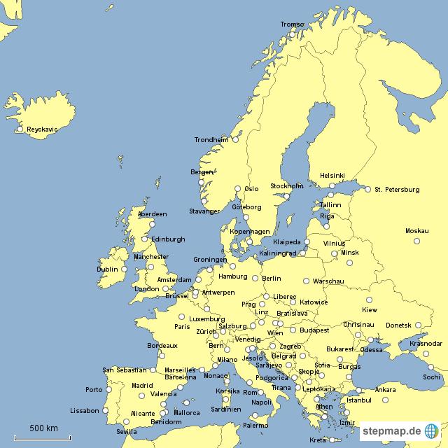 europa st dte von tatjanab landkarte f r europa. Black Bedroom Furniture Sets. Home Design Ideas