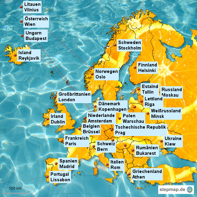 Stepmap Europa Beschriftet Landkarte Für Europa