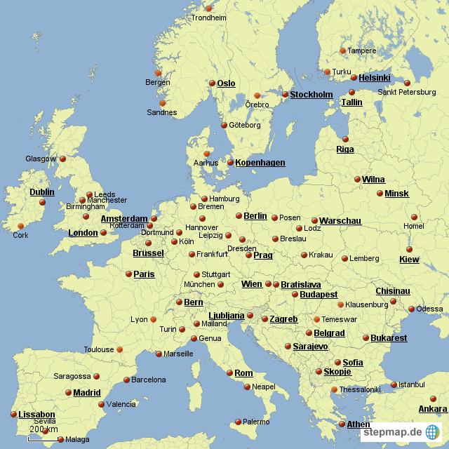 europa mit ausgew hlten st dten von janndo4 landkarte f r deutschland. Black Bedroom Furniture Sets. Home Design Ideas