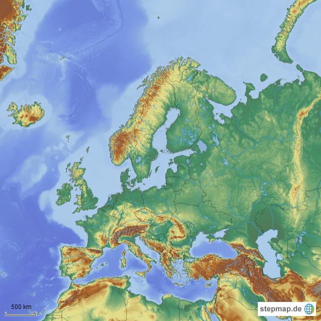 Stepmap Europa Ohne Beschriftung Starkes Relief Landkarte Für
