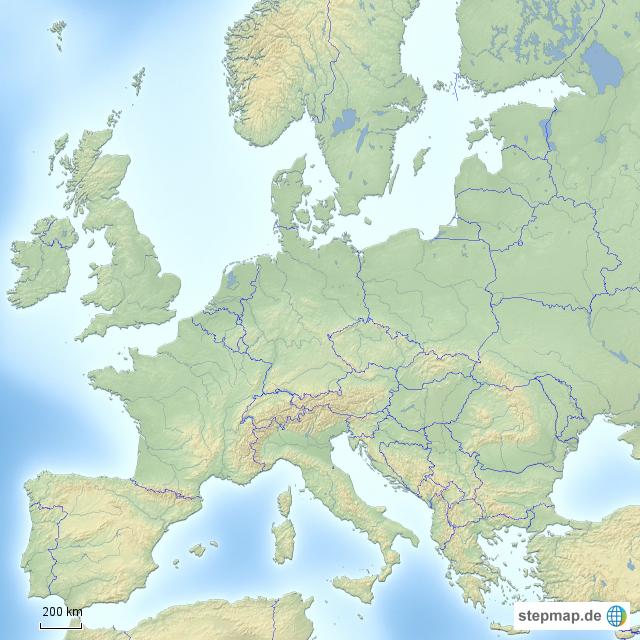 Karte Von Europa Mit Städten.Stepmap Europa Ohne Städte Landkarte Für Deutschland