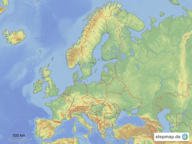 Europa Karte Physisch.Stepmap Europa Physisch Leer Landkarte Für Deutschland