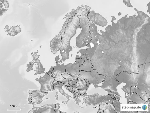 stepmap europa schwarz wei landkarte f r europa. Black Bedroom Furniture Sets. Home Design Ideas