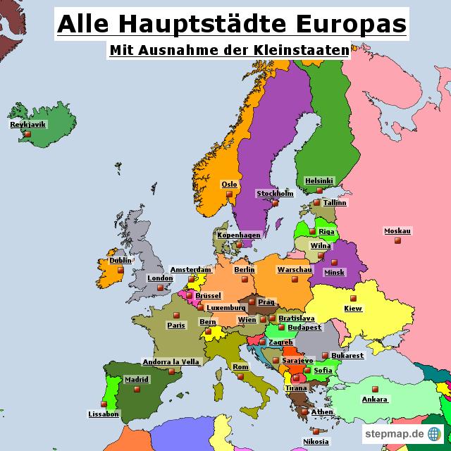 europa karte mit hauptstädten StepMap   Europas Hauptstädte   Landkarte für Europa europa karte mit hauptstädten