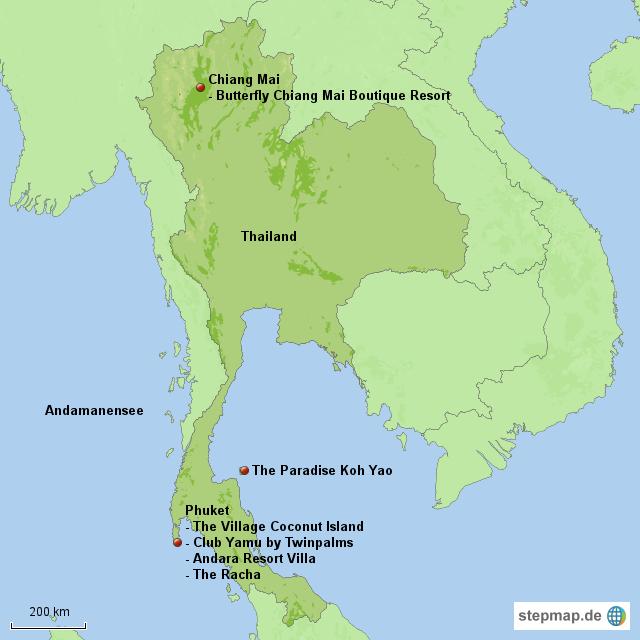 Exotische hotels in thailand von ksta de landkarte f r for Exotische hotels