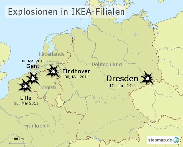 ikea deutschland karte StepMap   Explosionen in IKEA Filialen   Landkarte für Deutschland ikea deutschland karte