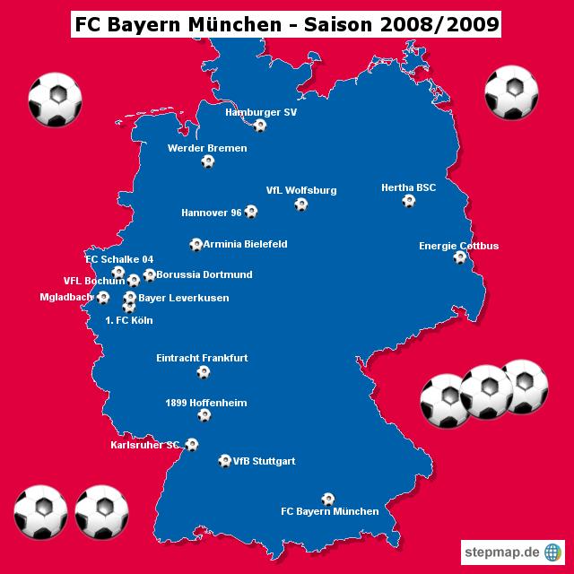 München Karte Bayern.Stepmap Fc Bayern München Saison 2008 2009 Landkarte Für