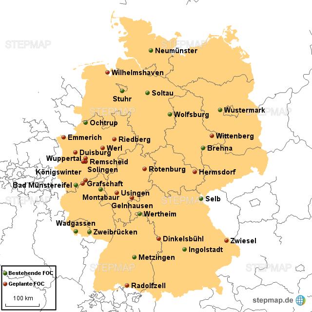 outlet deutschland karte StepMap   Factory Outlet Center   Landkarte für Deutschland