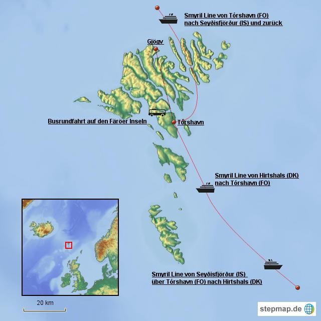Färöer Inseln Karte.Stepmap Färöer Inseln Landkarte Für Dänemark