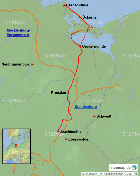 Usedom Karte Deutschland.Stepmap Fahrradtour Joachimsthal Usedom Landkarte Für Deutschland