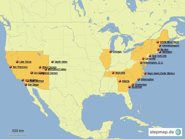 StepMap - Ferien USA - Landkarte für USA