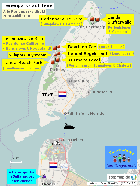 Karte Texel.Stepmap Ferienpark Texel Niederlande Landkarte Für Deutschland