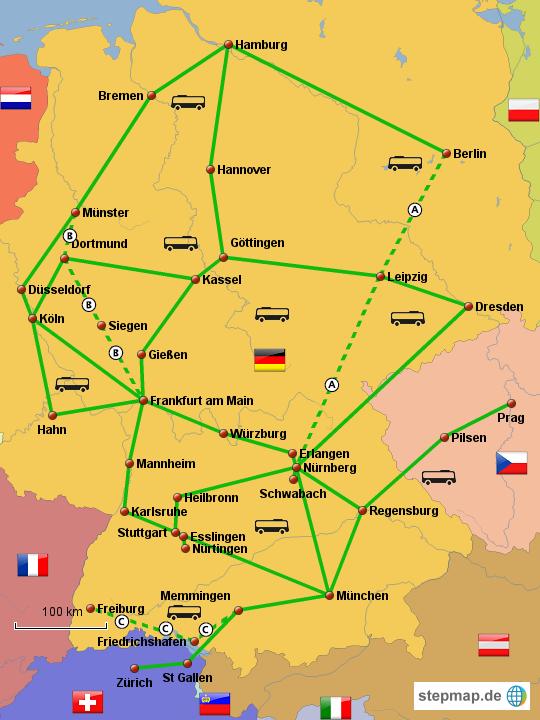 fernbuslinien deutschland karte StepMap   Fernbus FlixBus   Landkarte für Deutschland